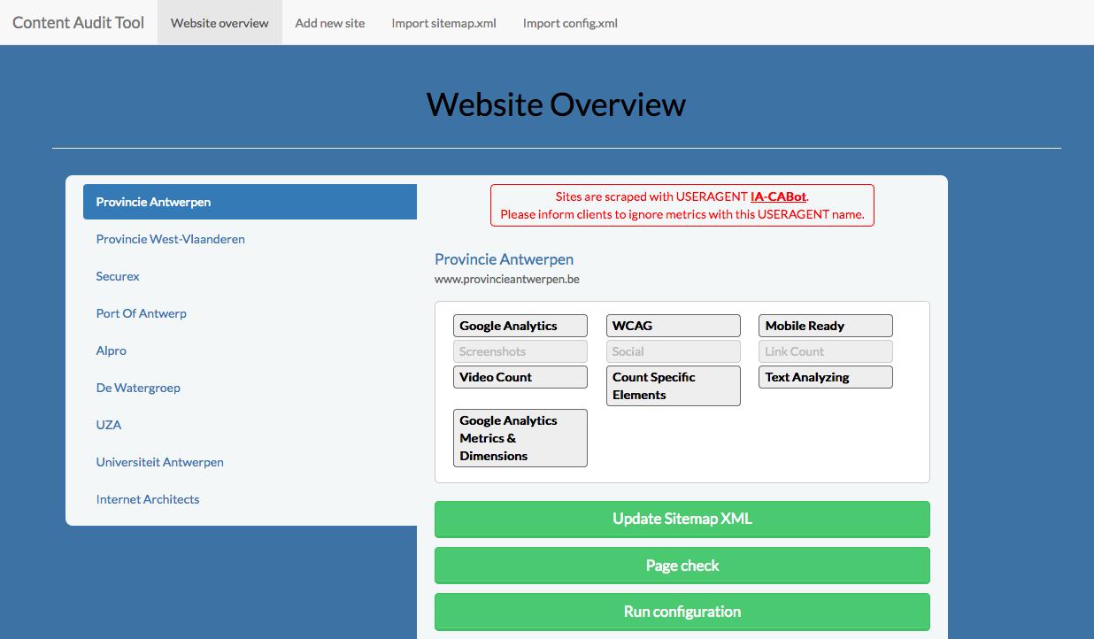 ixudra project details content audit tool